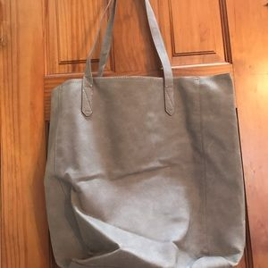 Suede grey tote bag